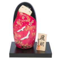 Two Cranes in Love Japanese Kokeshi Doll and base