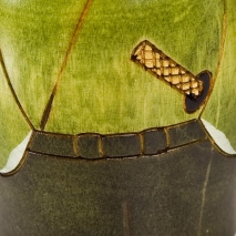 Young Samurai Japanese Warrior Kokeshi Doll detail