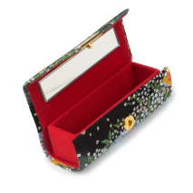 Black Floral Japanese Lipstick Case open