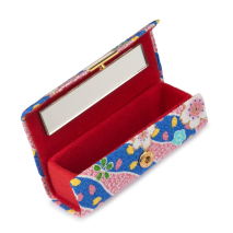 Blue Floral Japanese Lipstick Case open