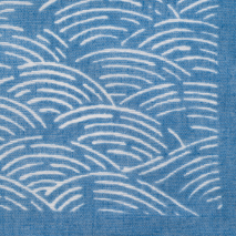 Blue Seikaiha Cotton Japanese Handkerchief detail