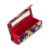 Purple Floral Japanese Lipstick Case open