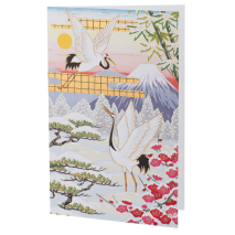 Courting Cranes in Winter Japanese Card