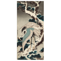 Cranes on a Snow Covered Pine Japanese Card flat
