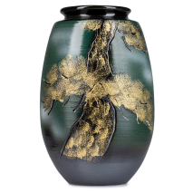 Green and Gold Kinsai Pine Japanese Vase front
