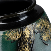 Green and Gold Kinsai Pine Japanese Vase top
