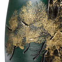 Green and Gold Kinsai Pine Japanese Vase detail