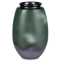 Green and Gold Kinsai Pine Japanese Vase back