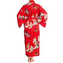 Red Maiko Girl Long Japanese Polyester Kimono with belt