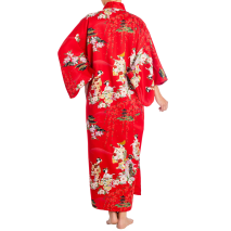 Red Maiko Girl Long Japanese Polyester Kimono without belt