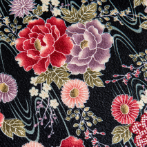 Small Black Floral Japanese Furoshiki detail