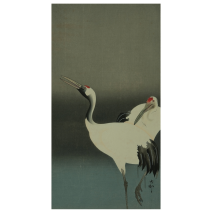 Two Cranes in Love Japanese Notecard flat