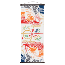 Lucky Cranes Traditional Japanese Tenugui wall hanging