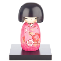 Pink Blossom Authentic Wooden Kokeshi Doll Wooden Base