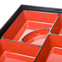 Black and Red Lacquer Japanese Obento Box close up