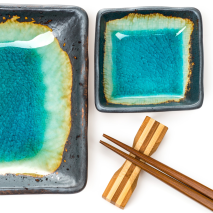 Turquoise Crackleglaze Sushi Plate Set close up