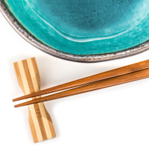 Turquoise Crackleglaze Japanese Bowl Set close up
