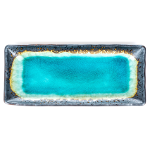 Turquoise Crackleglaze Oblong Plate from above