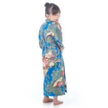Age 6 to 7 Blue Cotton Japanese Girls Kimono back
