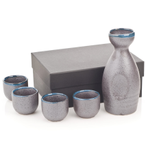 Charcoal Grey 5pce Japanese Sake Set and gift box