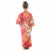Age 6 to 7 Red Cotton Japanese Girls Kimono back