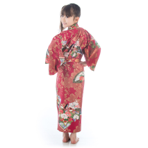 Age 8 to 9 Red Cotton Japanese Girls Kimono back
