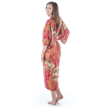 Teenage Red Cotton Japanese Girls Kimono back