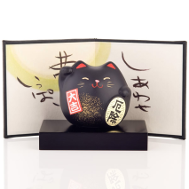 Small Feng Shui Good Health Lucky Cat and screen and base