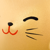 Small Feng Shui Good Fortune Lucky Cat close up