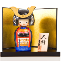 Samurai General Japanese Kokeshi Doll Display Screen and Base