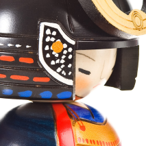 Samurai General Japanese Kokeshi Doll Close Up