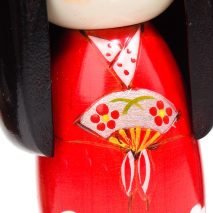 Dance Girl Authentic Wooden Kokeshi Doll Close Up A