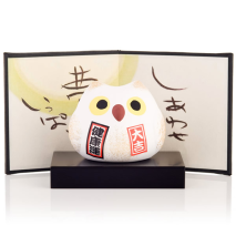 Feng Shui Happiness Japanese Lucky Owl with base and screen