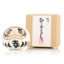 White Happiness Daruma Kokeshi Doll Gift Box