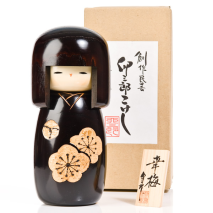 Black Happy Blossom Wooden Kokeshi Doll Gift Box