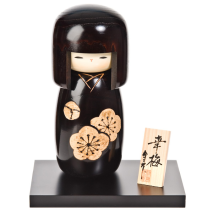 Black Happy Blossom Wooden Kokeshi Doll Display Base