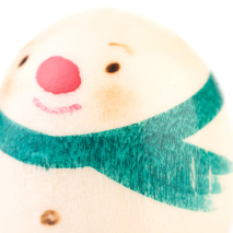 Snowman Miniature Japanese Kokeshi Doll Close Up