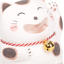 Big Smile White Japanese Lucky Cat close up
