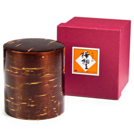 Small Cherry Bark Japanese Tea Caddy and gift box
