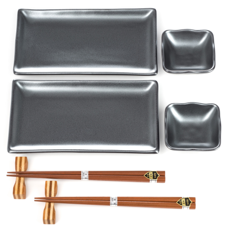 Sumi Grey Japanese Sushi Plate Set