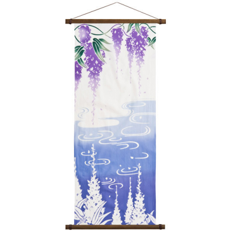 Purple Wisteria Authentic Japanese Tenugui and hanging poles