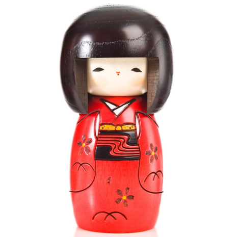 Red Happy Girl Japanese Kokeshi Doll
