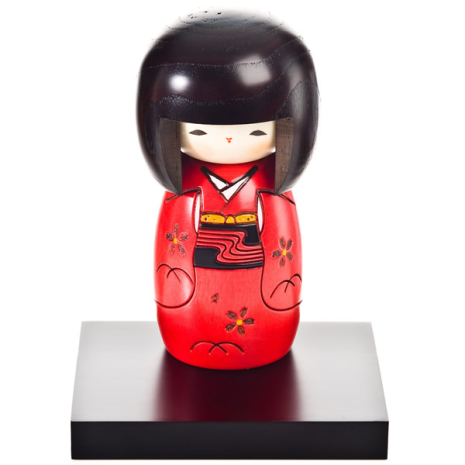 Red Happy Girl Japanese Kokeshi Doll and display base