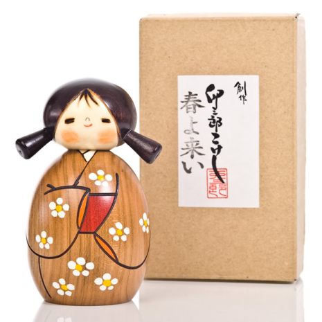 Small Springtime Authentic Kokeshi Doll and gift box