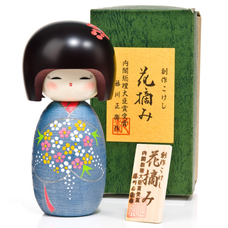 Bunch of Flowers Large Kokeshi Doll with box