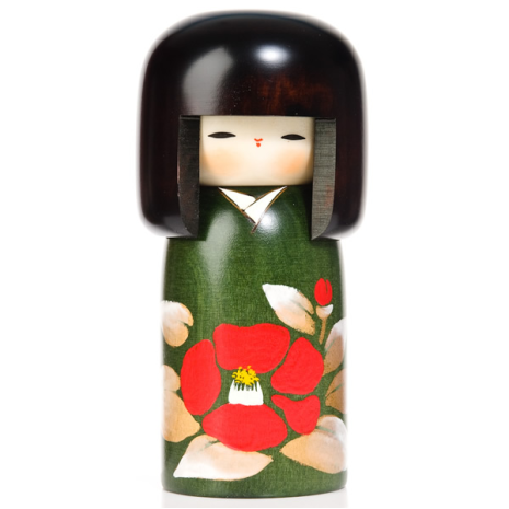 Camellia Flower Wooden Authentic Kokeshi Doll