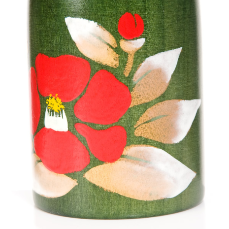 Camellia Flower Wooden Authentic Kokeshi Doll detail
