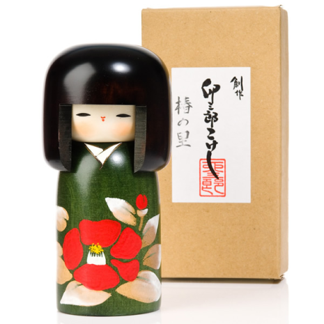 Camellia Flower Wooden Authentic Kokeshi Doll and gift box