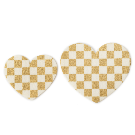 Gold and White Heart Japanese Stickers Pack 20