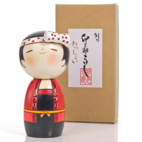 Lucky Girl Cute Wooden Kokeshi Doll with box